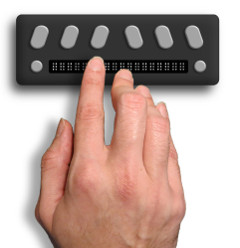 Rendering of a braille display with 18 characters