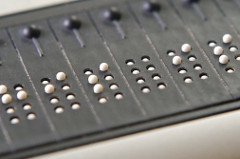 Closeup of refreshable Braille display